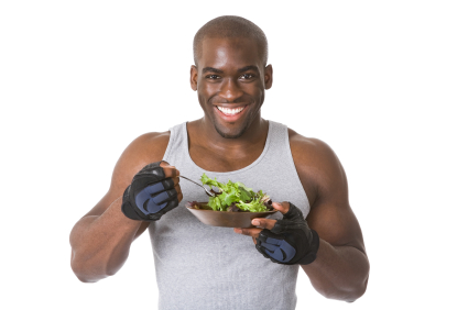 Bodybuilder with Eating Salad